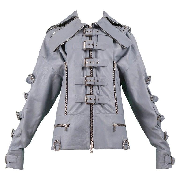 Dolce & Gabbana 2003 Grey Leather Biker Runway Jacket  For Sale