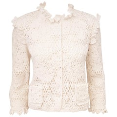 Dolce & Gabbana 2011 Special Edition White Cotton Crochet Cropped Jacket