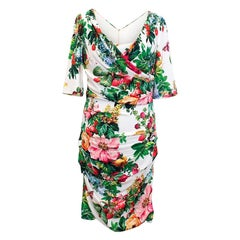 Dolce & Gabbana 3/4 Length Sleeve Floral and Fruit Dress - Size US 10