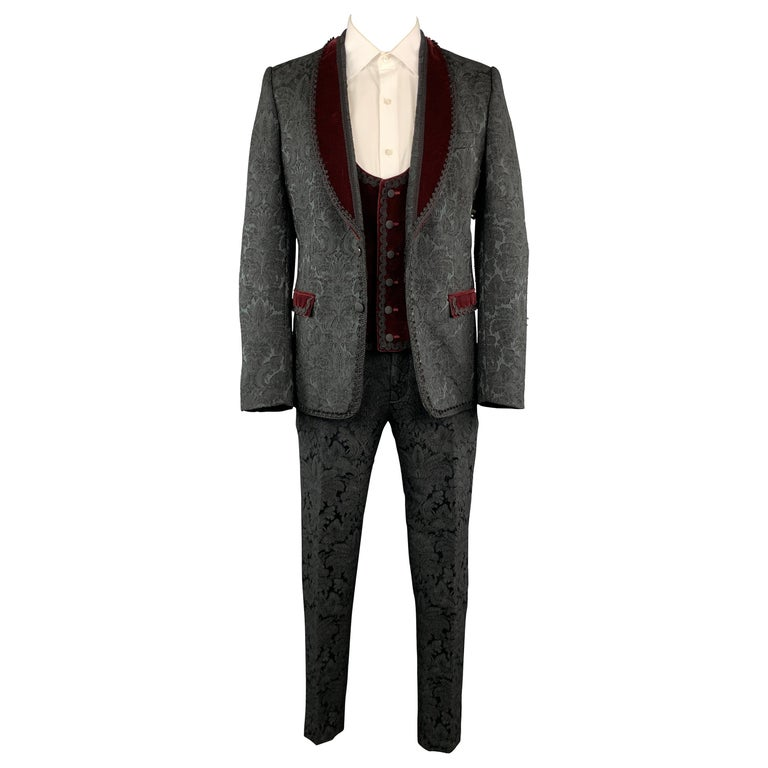 DOLCE & GABBANA 40 Black Brocade & Burgundy Velvet 3 Piece Suit For Sale