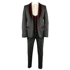 DOLCE & GABBANA 40 Black Brocade & Burgundy Velvet 3pc Suit