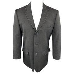 DOLCE & GABBANA 40 Charcoal Solid Wool Blend Notch Lapel Sport Coat