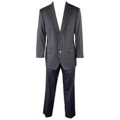 DOLCE & GABBANA 40 Regular Navy Stripe Wool Notch Lapel Suit