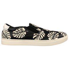 DOLCE & GABBANA 9 Black & White Palm Leaves Print Leather Slip On Sneakers
