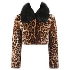 DOLCE & GABBANA A/W 2007 Leopard Print Marmot & Fox Fur Collar Cropped Jacket