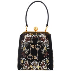 6166ef477a79 Dolce & Gabbana Agata Handbag Embroidered Fabric with Sequins Small