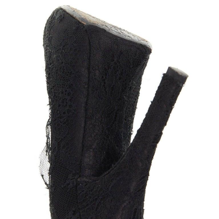 DOLCE GABBANA all-over black lace covered concealed platform pumps EU39 For Sale 6