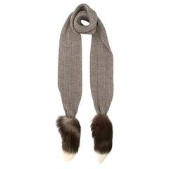 Dolce & Gabbana Alpaca Blend Knit Fox Fur Scarf