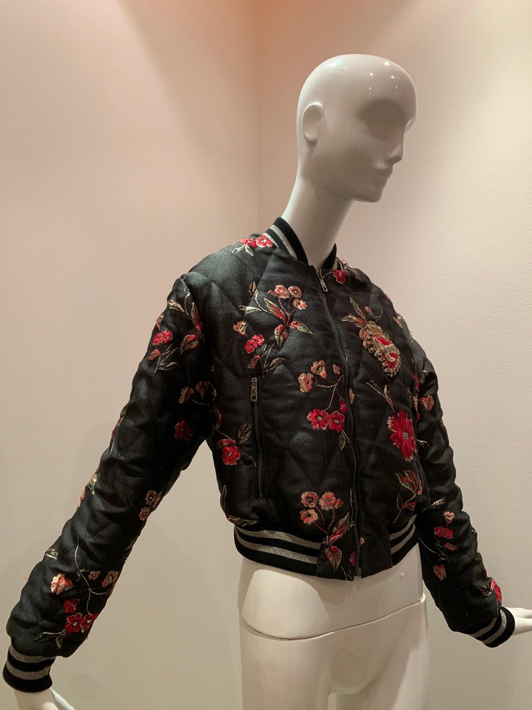A contemporary Dolce & Gabbana quilted floral satin and brocade  bomber jacket with jeweled and embroidered