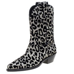 Dolce & Gabbana Animal Print Lurex and Velvet Cowboy Boots Size 39.5