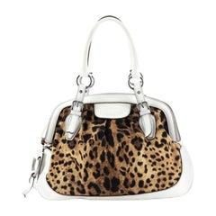 Dolce & Gabbana Animalier Shoulder Bag Leopard Print Canvas and Leather Large