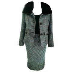 Dolce & Gabbana Aqua & Multi Color Tweed Fox Fur Jacket Skirt Suit IT 40/ US 2 4