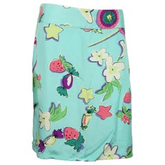 Dolce & Gabbana Aqua Silk Skirt w/ Fruits and Flowers - 42 - NWT