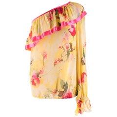 Dolce & Gabbana Asymmetric Silk Floral Blouse - Size US 0-2