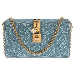 Dolce & Gabbana Azure Heat-Applied Rhinestones Dolce Box Chain Clutch