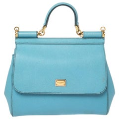 Dolce & Gabbana Baby Blue Leather Medium Miss Sicily Top Handle Bag