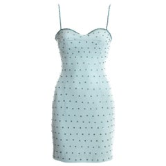 Dolce & Gabbana baby blue rhinestone mini dress, ss 1995