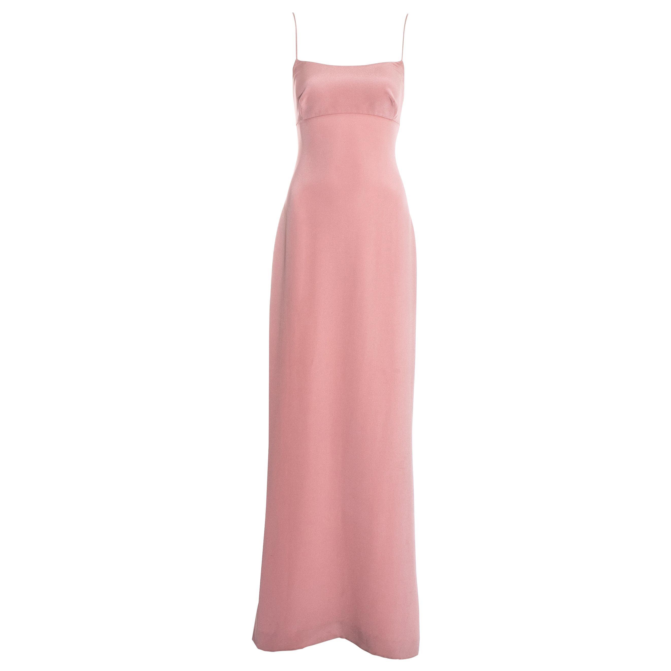 Dolce & Gabbana baby pink silk spaghetti strap maxi dress, ss 1995