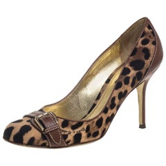 Dolce & Gabbana Beige Animal Print Canvas And Leather Pumps Size 39.5