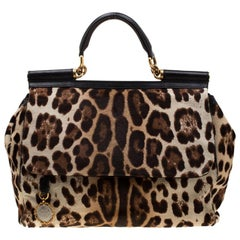 Dolce & Gabbana Beige/Black Leopard Print Calfhair Miss Sicily Top Handle Bag