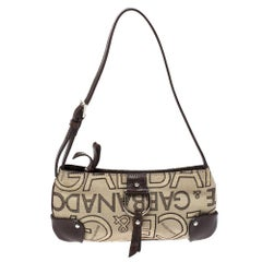 Dolce & Gabbana Beige/Brown Canvas and Leather Pochette Bag