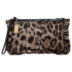 Dolce & Gabbana Beige/Brown Leopard Print Canvas and Leather Clutch