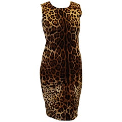 Dolce & Gabbana Beige & Brown Leopard Print Sleeveless Dress 42 EU
