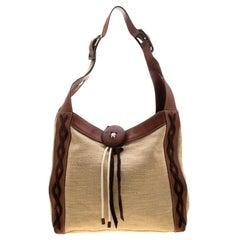 Dolce & Gabbana Beige/Brown Stitches Suede Trim Button Lock Shoulder Bag