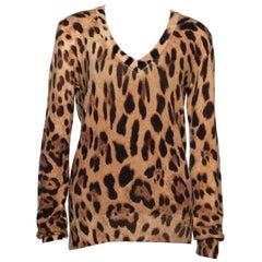Dolce & Gabbana Beige Cashmere Leopard Print V Neck Sweater L