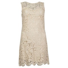 DOLCE & GABBANA beige cotton LACE SLEEVELESS MNI Dress 40