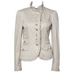 Dolce & Gabbana Beige Cotton Twill Ruffle Trim Blazer M