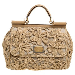 Dolce & Gabbana Beige Crochet Raffia, Large Miss Sicily Top Handle Bag