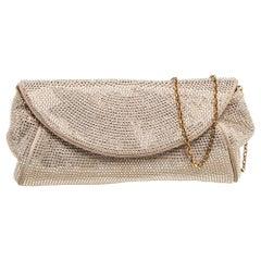 Dolce & Gabbana Beige Crystal Embellished Suede Flap Chain Clutch
