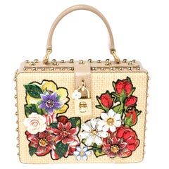 Dolce & Gabbana Beige Embroidered Raffia and Leather Crystal Box Top Handle Bag