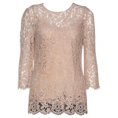 Dolce & Gabbana Beige Floral Lace Scalloped Long Sleeve Blouse M