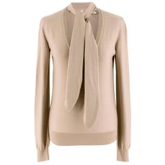 Dolce & Gabbana Beige Knit V-Neck Detachable Neck Tie Jumper