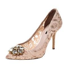 Dolce & Gabbana Beige Lace Belluci Embellished Pointed Toe Pumps Size 38