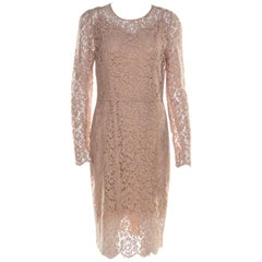 Dolce & Gabbana Beige Lace Detail Full Sleeve Sheath Dress M