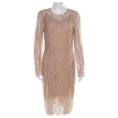 Dolce & Gabbana Beige Lace Detail Full Sleeve Sheath Dress M