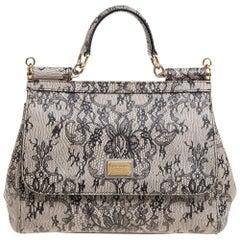 Dolce & Gabbana Beige Lace Print Leather Medium Miss Sicily Top Handle Bag