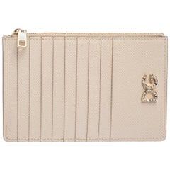 Dolce & Gabbana Beige Leather Crystal Embellished Logo Zipped Card Holder