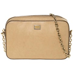 Dolce & Gabbana Beige Leather Glam Crossbody Bag