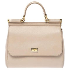 Dolce & Gabbana Beige Leather Medium Miss Sicily Top Handle Bag