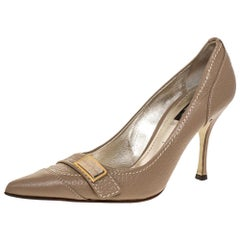 Dolce & Gabbana Beige Leather Pointed Toe Pumps Size 38