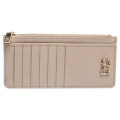Dolce & Gabbana Beige Leather Zipped Card Holder