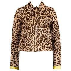 DOLCE & GABBANA beige LEOPARD Calf Hair Short Jacket S