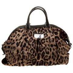 Dolce & Gabbana Beige Leopard Print Calfhair Miss Urbanette Satchel