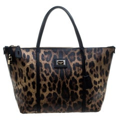 Dolce & Gabbana Beige Leopard Print PVC Miss Escape Tote