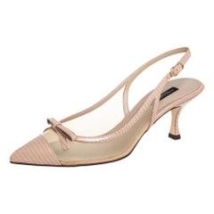 Dolce & Gabbana Beige Mesh And Leather Lori Slingback Sandals Size 38