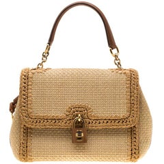 Dolce & Gabbana Beige Raffia and Leather Miss Dolce Tote